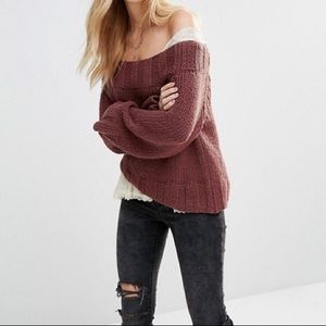 Free People beachy Off Shoulder slouchy sweater